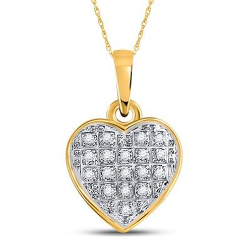 10k Yellow Gold Heart Pendant With Diamonds