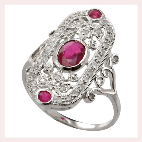 14k White Gold Vintage Style Ruby & Diamond Ring