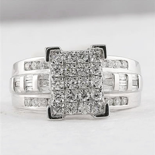 10k White Gold 1.00ct Cluster Diamond Engagement Ring
