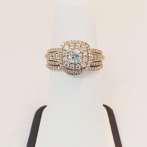 14k Rose Gold 1.0ct Diamond Wedding Set