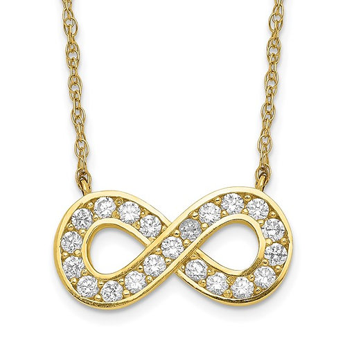 """10kt Yellow Gold 18"""" Polished CZ Infinity Necklace"""