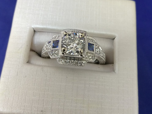 1.29ctw Diamond and Blue Sapphire Accented Engagement Ring