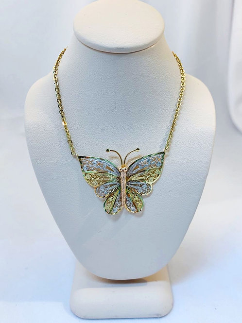 10k Tri-Colored Gold Butterfly Necklace