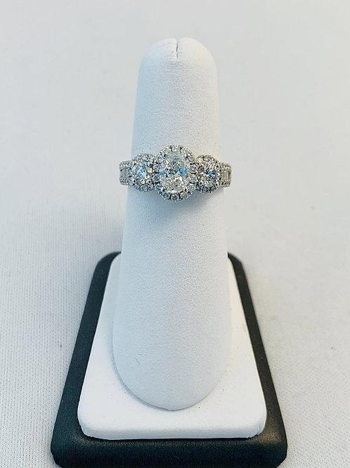 14k White Gold 2.0ct Diamond Three Stone Ring