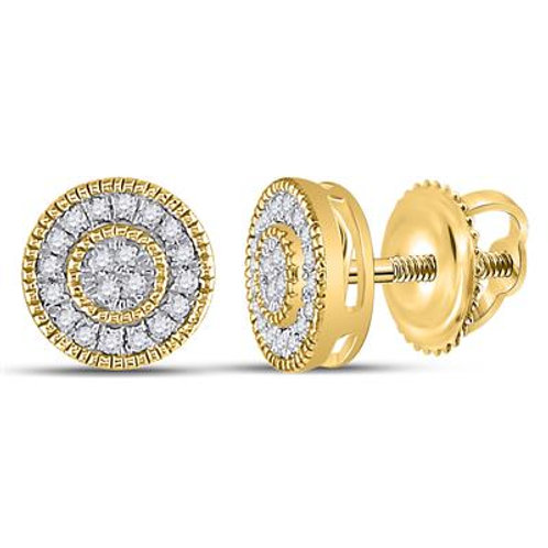 10k Yellow Gold Round Diamond Hiphop Earrings