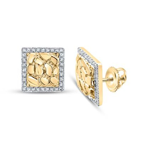 10kt Yellow Gold Nugget With Diamond Edge Men's Stud Earrings