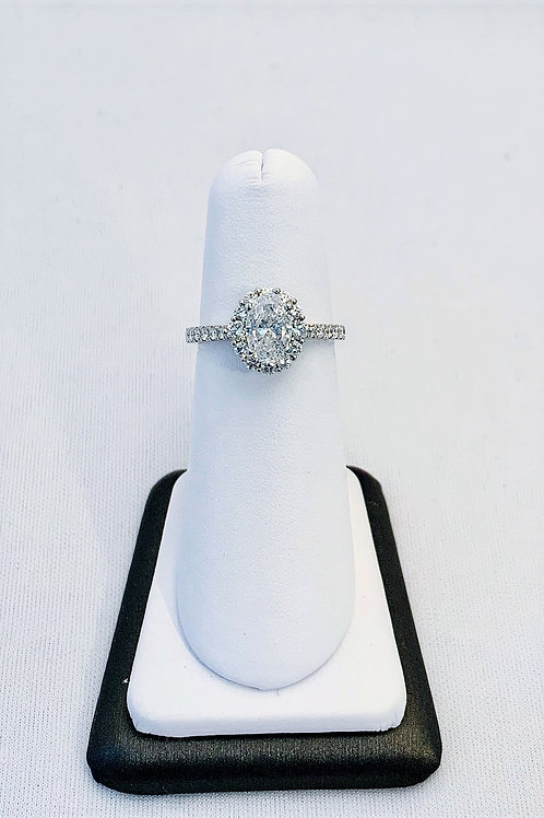 14k White Gold 1.60ct Oval Diamond Engagement Ring