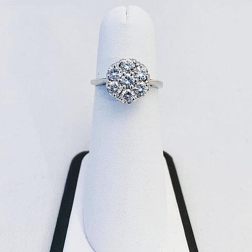 14k White Gold 1.0ct Diamond Cluster Ring