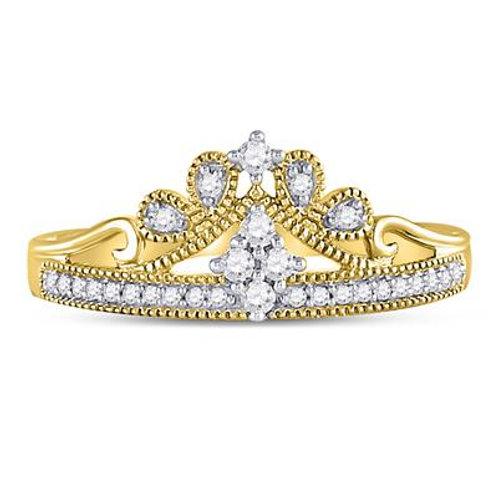 10k Yellow Gold Round Diamond Crown Tiara Ring