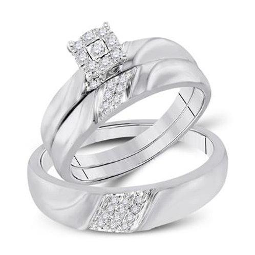 10k White Gold & Diamond Men & Women's Matching Wedding Set