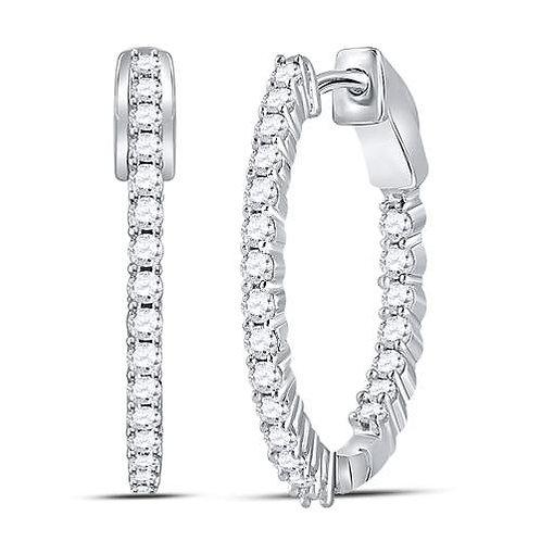 10kt White Gold Womens Round Diamond Inside Outside Hoop Earrings 1.00 Cttw
