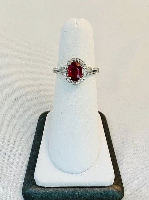 14k White Gold Ring Ruby with Diamond Halo