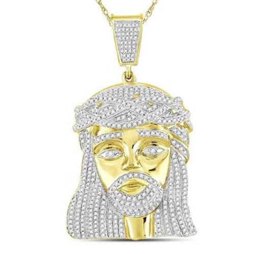 10kt Yellow Gold & Diamond Jesus Head Pendant