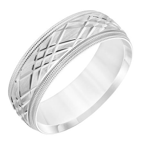 14k WhiteGold Men's Wedding Band with Diagonal Swiss Cuts