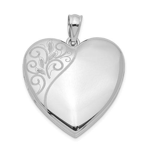 Sterling Silver Rhodium-plated 24mm Polished Swirl Heart Locket