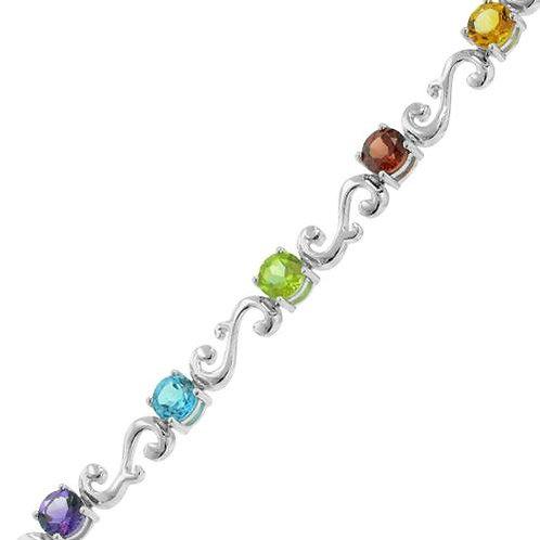 Sterling silver multi-stone bracelet