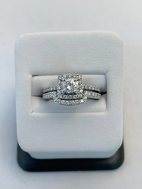 14k White Gold 0.83ct Round Diamond Wedding Set