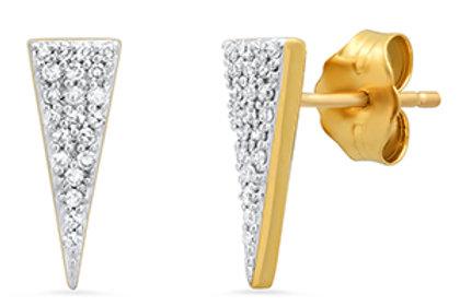 10k Yellow Gold Diamond Triangle Stud Earring