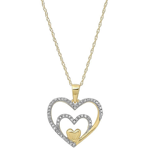 10k Yellow Gold 3 Heart Necklace With Diamonds