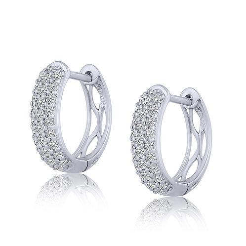 14k White Gold Pave-Set Diamond Hoop Earrings