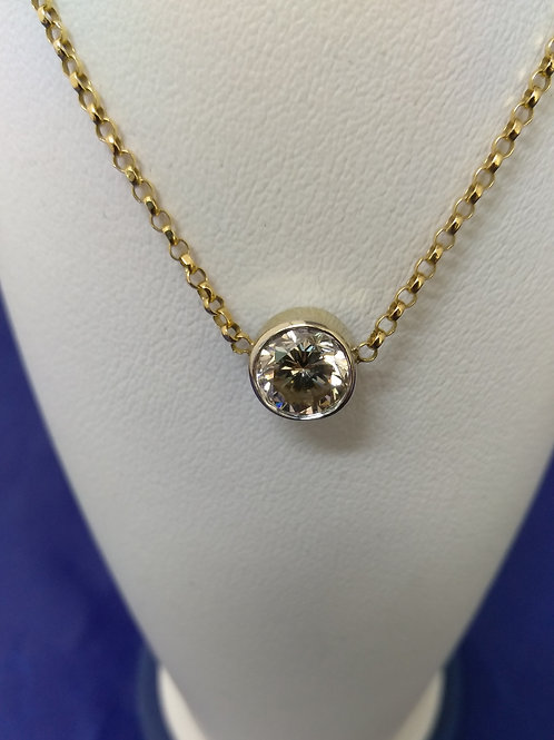 1ct. VS2 Fancy Champagne Color Bezel Set Diamond Pendant Necklace in 14 gold