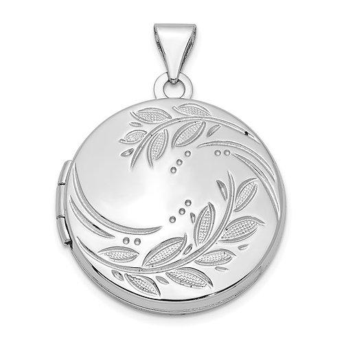 Sterling Silver Rhodium-plated 20mm Round Leaf Floral Locket