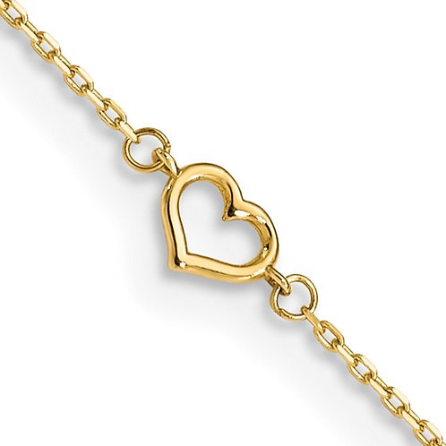 14kt Yellow Gold Adjustable Heart Anklet