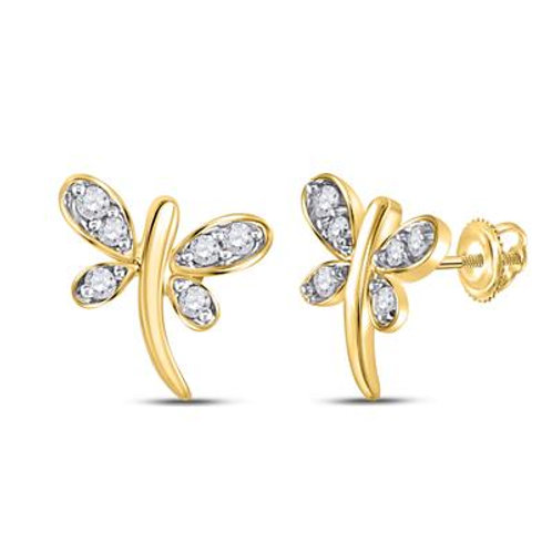 10k Yellow Gold Butterfly Earrings with Diamonds