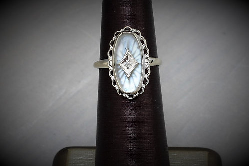 10k White Gold Diamond & Crystal Ring
