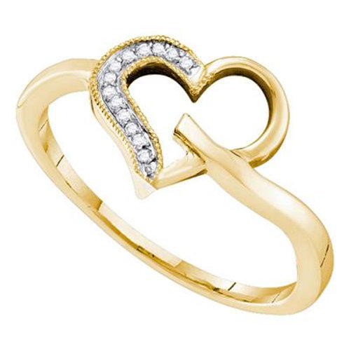 10k Yellow Gold Heart With Diamonds Ring