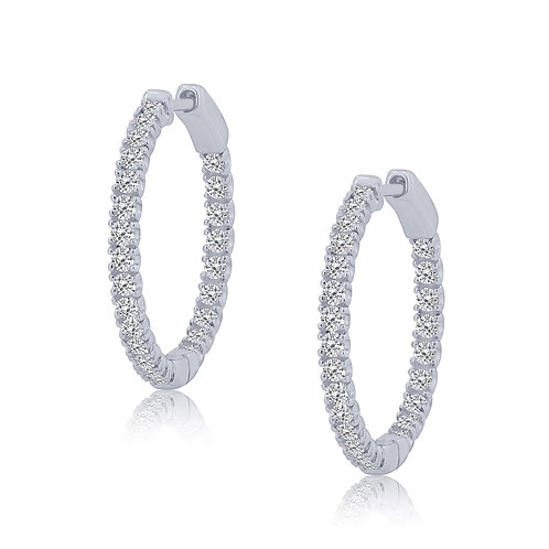 10k White Gold Inside Out Round Diamond Hoop Earrings