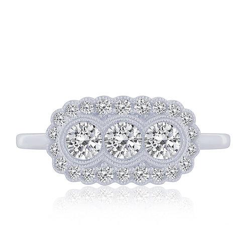 14k White Gold 3 Stone Vintage Style Ring
