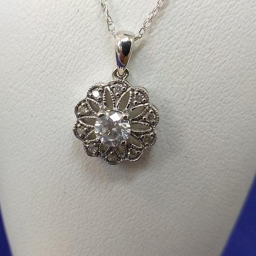 1/2cttw (.50ctw) Diamond Pendant Necklace in 10k White Gold