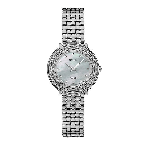 Seiko Tressia Solar Powered Stainless Steel Women's Diamonds & Mother of Pearl