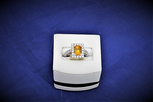 18k White Gold Citrine & Diamond Ring