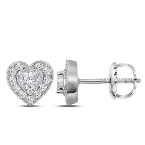 14k White Gold Diamond Heart Shaped Stud Earrings