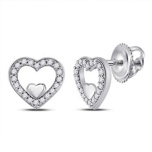 10kt White Gold Open Heart Diamond Earrings