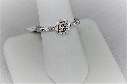 14k White Gold Champagne Diamond Ring