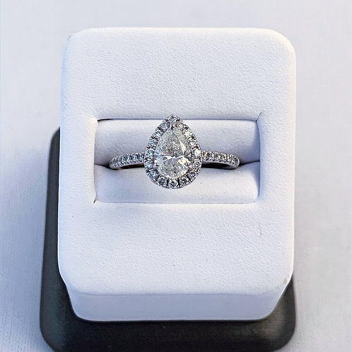 14k White Gold 1.35ct Pear Cut Diamond Engagement Ring