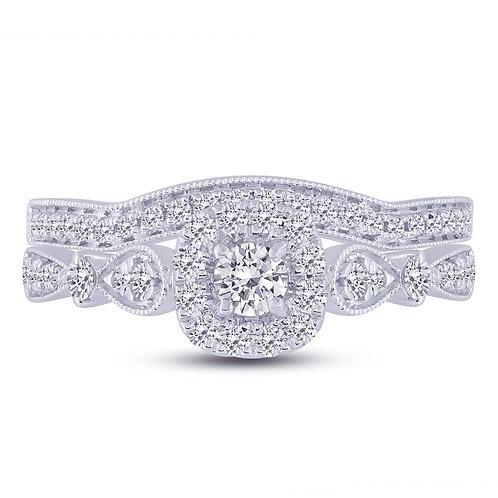 14k White Gold 0.64ct Vintage Style Diamond Wedding Set