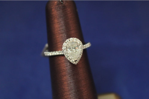 14k White Gold 1.35ct Pear Cut Diamond Halo Engagement Ring