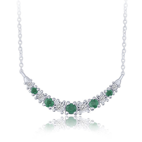 10k White Gold Emerald & Diamond Necklace