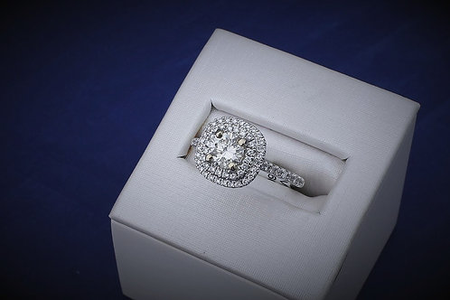 14k White Gold 1.2ct Round Double Halo Diamond Engagement Ring