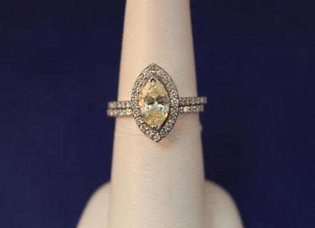14k White Gold Yellow Marquise Halo Diamond Wedding Set