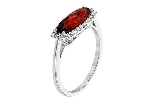 14kt White Gold Garnet & Diamond Ring