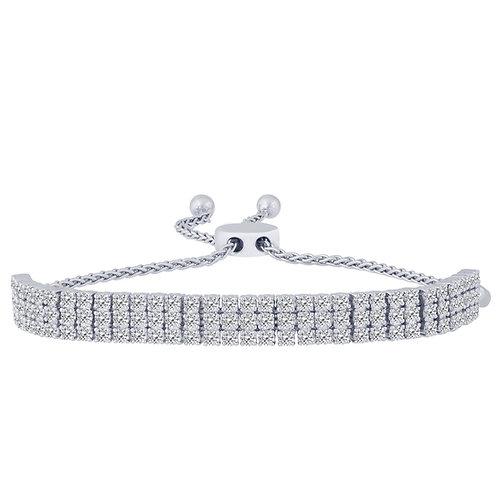 14k White Gold 3.00ct 3 Row Diamond Bolo Bracelet