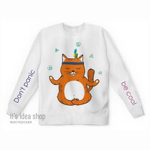 """Свитшоты, майки, футболки для взрослых и детейс принтом """"Рыжий котик Don't panic be cool&qu"""