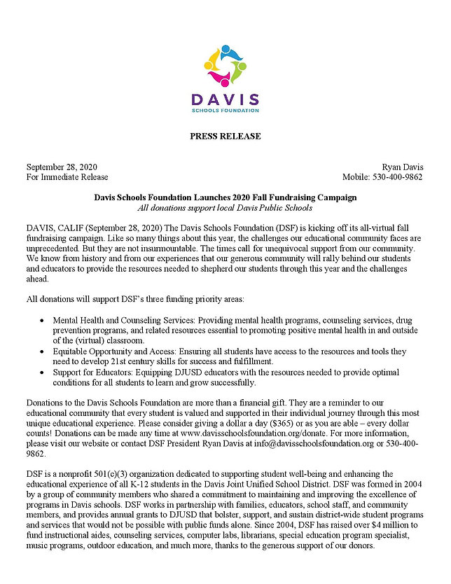 2020 fall campaign DSF Press Release-pag