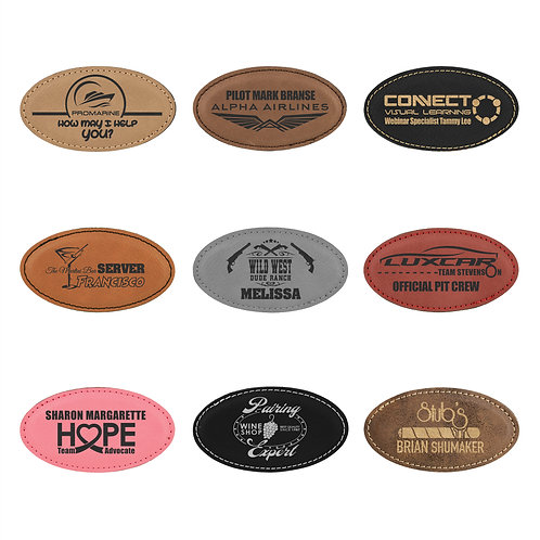 Leatherette Oval Name Badges