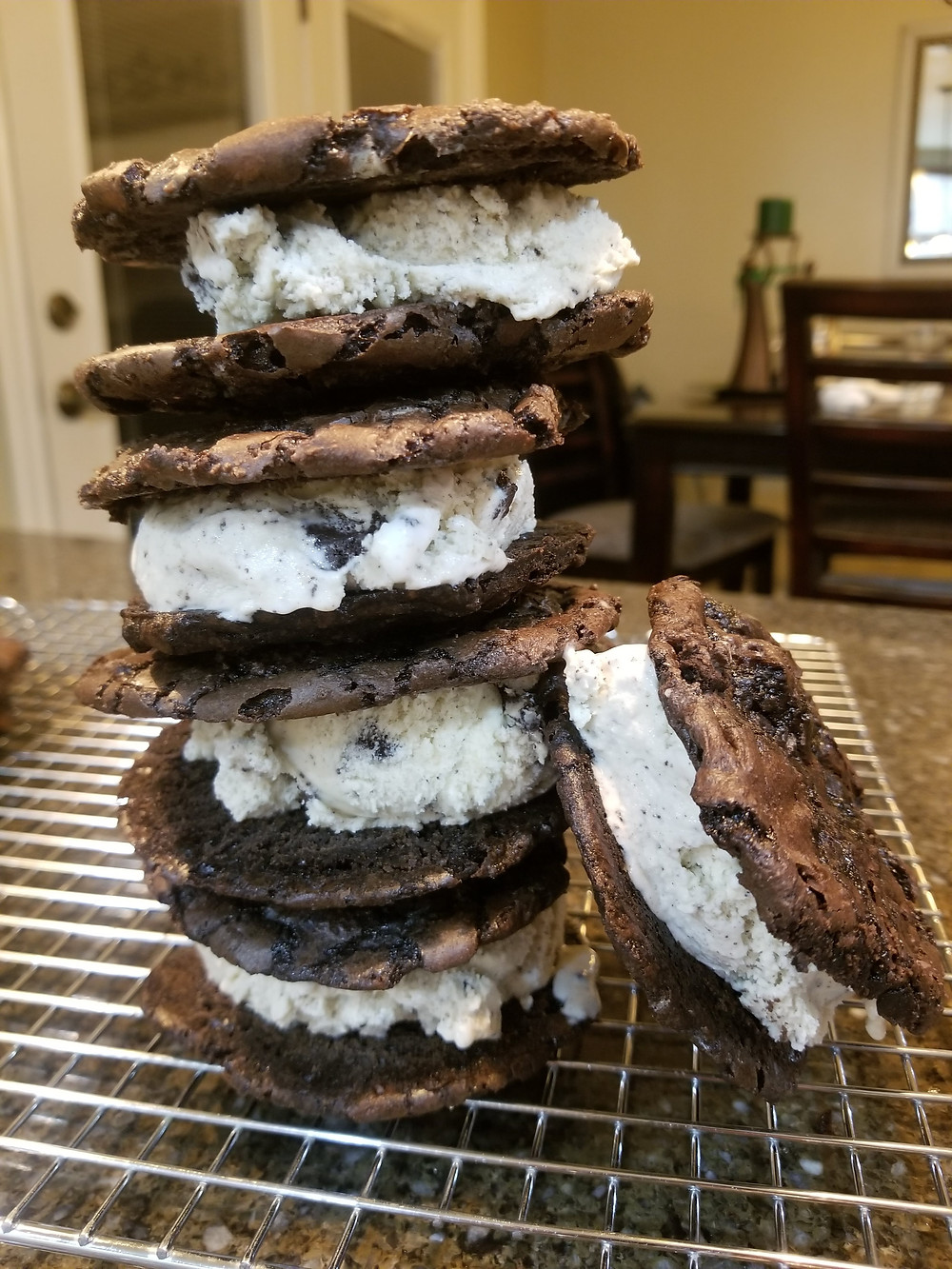 Oreo Ice-cream sandwiches, what to make with brownie mix.